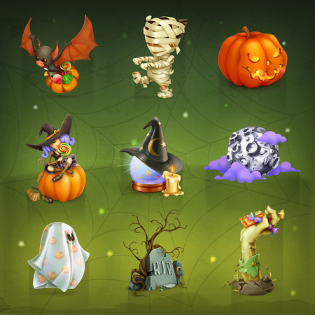 ghost character: Set with happy Halloween vector icons