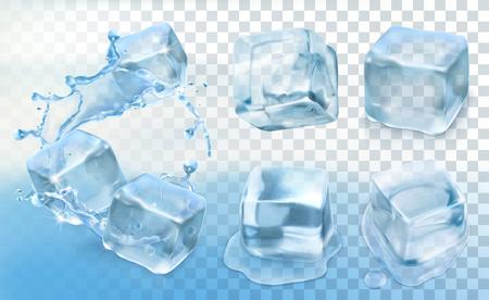 fresh water splash: Set with Ice cubes, vector icons with transparency Illustration