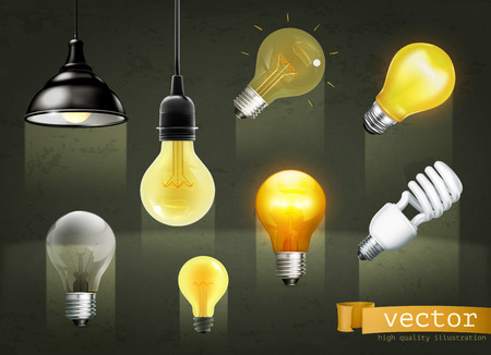 graphic design: Set with light bulbs, vector icons