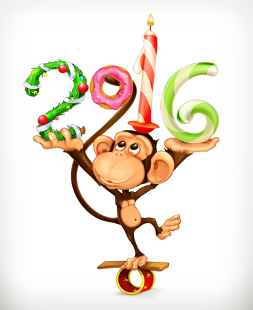 monkey cartoon: New Year, monkey vector icon