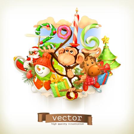 mono caricatura: Año Nuevo, ilustración vectorial mono