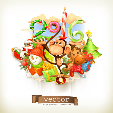 new year of trees: New Year, monkey vector illustration