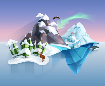 lands: Polar nature, winter wonderland, low poly style landscape, vector infographic