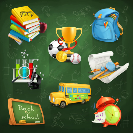 school sport: Set with Back to school, education and knowledge, vector icons