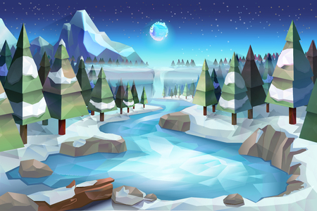 low poly: Winter forest, vector background low poly style Illustration