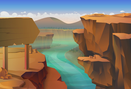 low poly: Canyon, nature vector illustration background