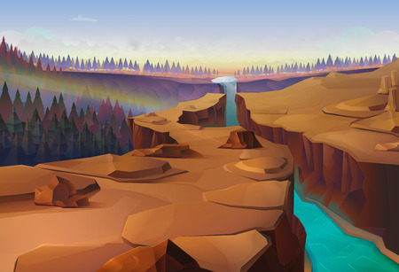 desert landscape: Canyon, nature vector illustration background