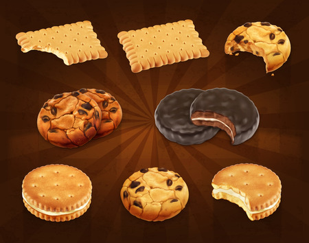 galleta de chocolate: Set con los iconos galletas del vector