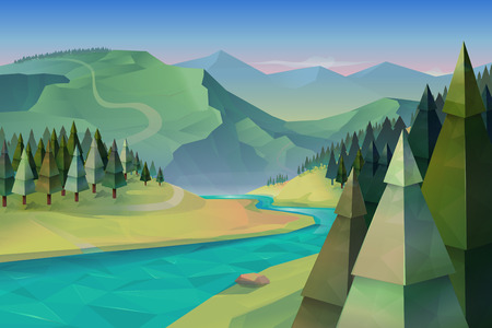 low poly: Forest landscape, nature vector background