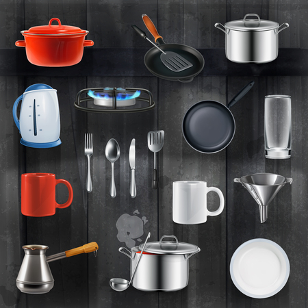 equipment: Set with kitchen utensils, vector icons on black wooden background