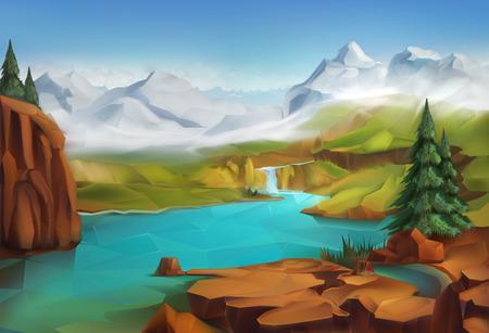 Landschap: Landschap, natuur vector illustratie achtergrond Stock Illustratie