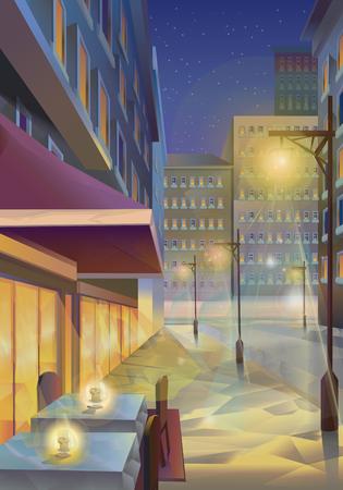 city street: Night city, vector illustration background Illustration