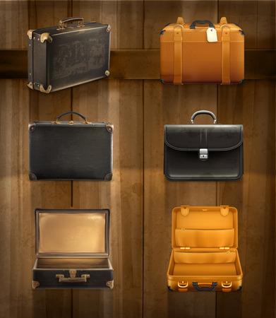 bagagli: Set con vecchio bagaglio, icone vettoriali su sfondo