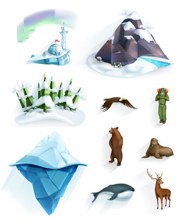 winter wonderland: Polar nature, winter wonderland, low poly style icon set