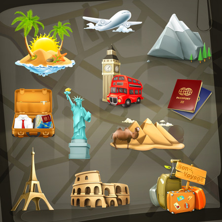 great wall: Set with travel vector icons on background