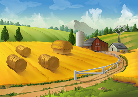 ranches: Farm, rural landscape vector background