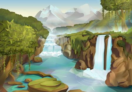 Bos en waterval, natuur, landschap, vector achtergrond