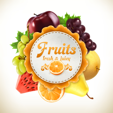 Fruits, vector label, isolated on white background Ilustração