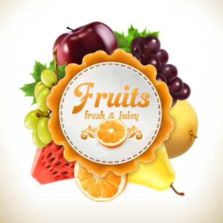 owocowy: Owoce, wektor etykieta, na białym tle