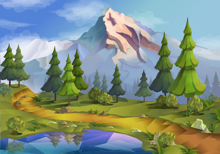 green river: Nature landscape illustration, vector background