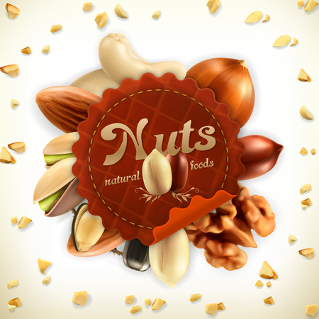 nuts: Nuts, vector label, isolated on white background
