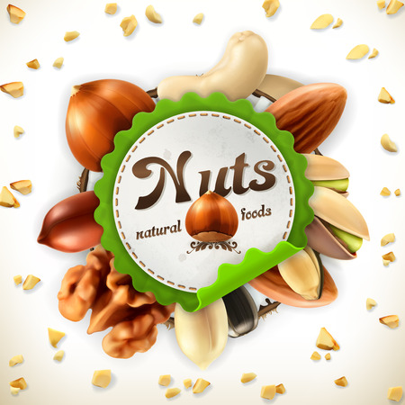 snack: Nuts, vector label on white background