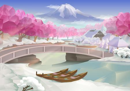 himalaya: Pink grove, landscape vector background Illustration