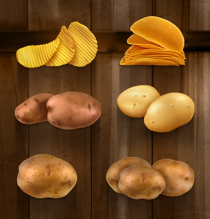 potato chip: Set with potatoes vector icons on wooden background
