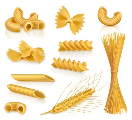 macarrones: Set con pasta, iconos vectoriales, aislado en fondo blanco