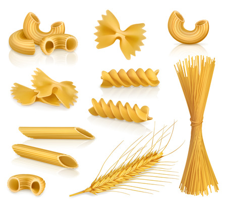 wheat illustration: Set with pasta, vector icons, isolated on white background