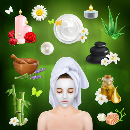 spa stones: Set with spa, beauty and care vector icons on green background