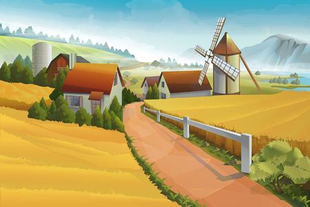 Ferme paysage rural fond Banque d'images - 49697685