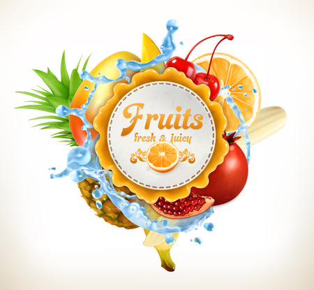 circle objects: Fruits label Stock Photo