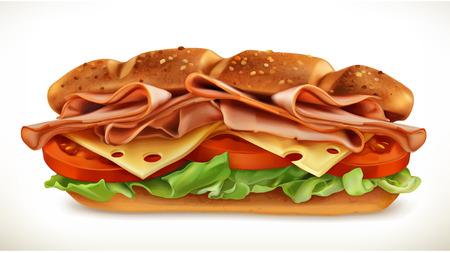 sandwich de pollo: Emparedado grande con carne y queso, icono del vector, aislada en el fondo blanco
