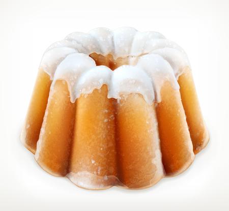 fruitcake: Lemon cake, fruitcake with powdered sugar vector icon