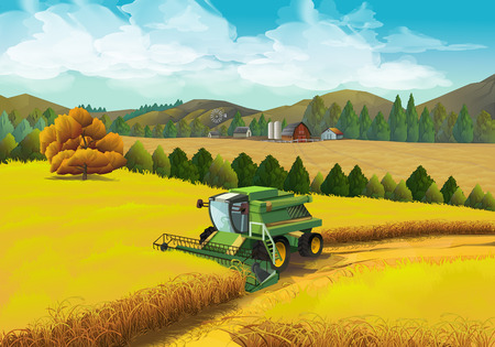 harvester: Farm rural landscape, vector background