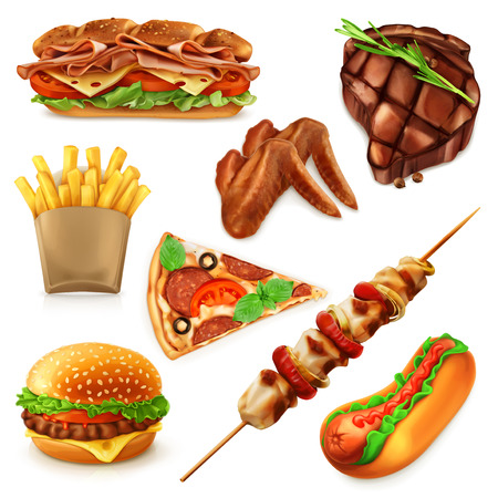 fried: Set with fast food vector icons, isolated on white background