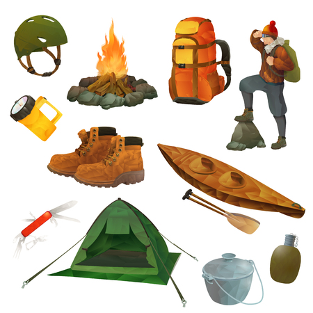 hiking boots: Set with hike vector icons, low poly style Illustration
