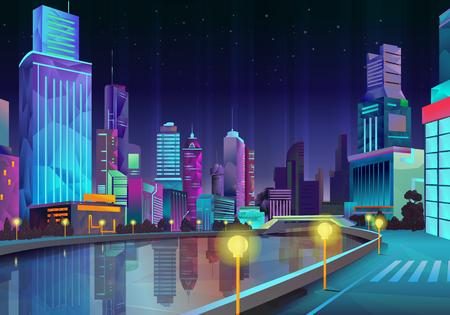 estilo urbano: Ciudad de noche, ilustración vectorial estilo de bajo poli