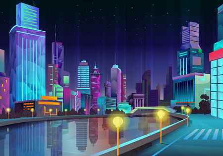 city panorama: Night city, vector illustration low poly style