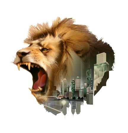 Roaring lion head, double exposure vector illustration