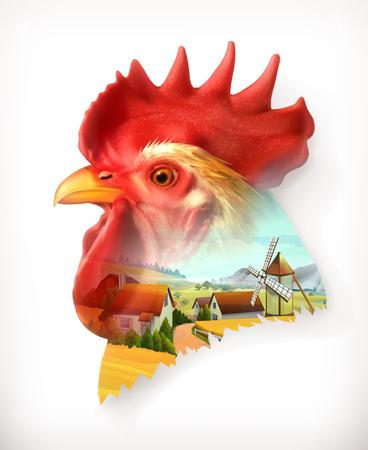 aves de corral: cabeza de gallo, ilustración vectorial doble exposición