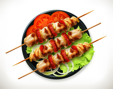 shish kebab: Shish kebab on a plate, vector icon,  isolated on white background