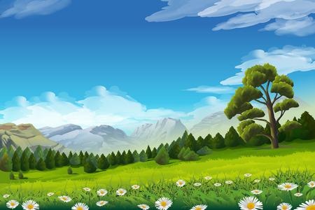 paisajes: Paisaje de primavera, ilustración vectorial