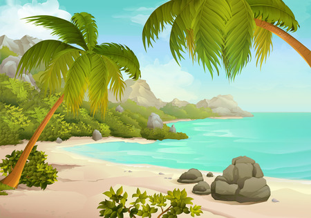 Tropical beach vector illustration background Stock Illustratie