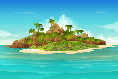 clouds in sky: Tropical island, vector illustration background