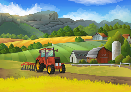 cartoon land: Farm rural landscape, vector background