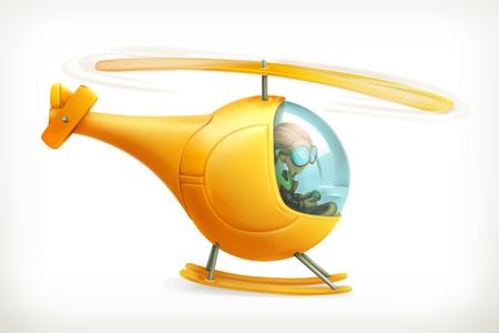 面白いヘリコプター、ベクトルのアイコン、白い背景で隔離  イラスト・ベクター素材