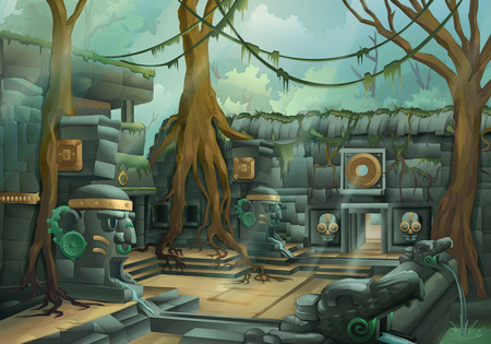 the temple: Ruins jungle illustration