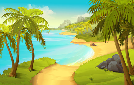 island paradise: Tropical beach, vector illustration background